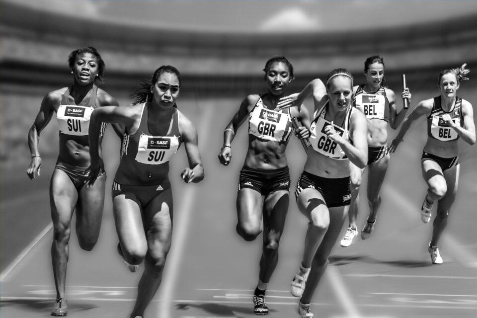 Women Running Race Racing Athletes