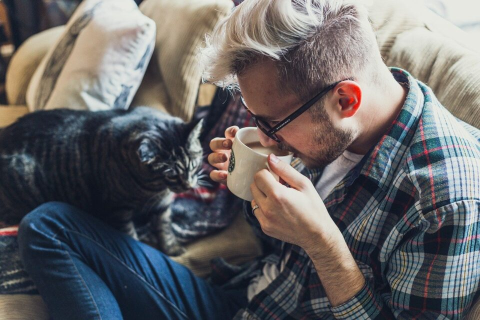 Man Sofa Coffee Mug Cup Drink Drinking Coffee